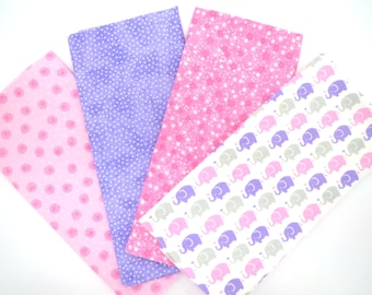 Pink and Lavender Baby Elephants and Matching Print Flannel Fabric Fat Quarter Four Pack Bundle