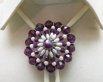 1980s Safety Pin Art Purple and White Southwestern Bolo Tie