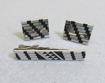 Vintage Art Deco Style Cufflinks and Tie Bar Set, Black and Silver Tie Bar and Cufflinks