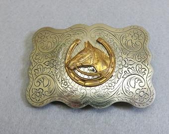 Vintage Western Chromed Metal and Brass Horse Head Belt Buckle