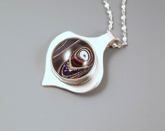 Harley Davidson Fordite Pendant- Awesome Pattern and Color- Michigan Made- Sterling Silver Pendant
