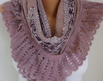 ON SALE --- Knitted Scarf, Winter Scarf, Shawl Cowl Lace, Bridesmaid, Bridal Accessories Gift Ideas For Her Women Fashion Accessories Christ