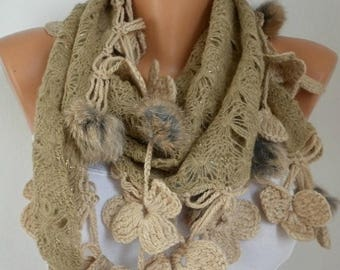 ON SALE --- Beige Knitted Floral Pompom Scarf, Winter Accessories Shawl Cowl Scarf Bridesmaid Gift Gift Ideas For Her Women Fashion Accessor