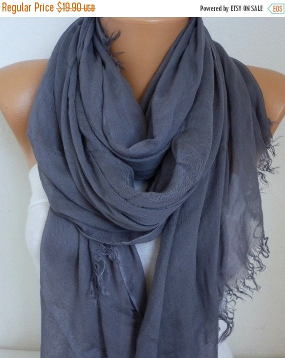 ON SALE --- Foggy Gray Cotton Soft Scarf,Teacher Gift,Summer Scarf,Pareo,Shawl,Oversized Scarf, Cowl Scarf Gift Ideas for Her Women Fashion