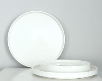 4 White Heller Melamine Plates Massimo Vignelli, 4 Massimo Vignelli Plates, Melamine Picnic Plates White, Stacking Plastic Plates