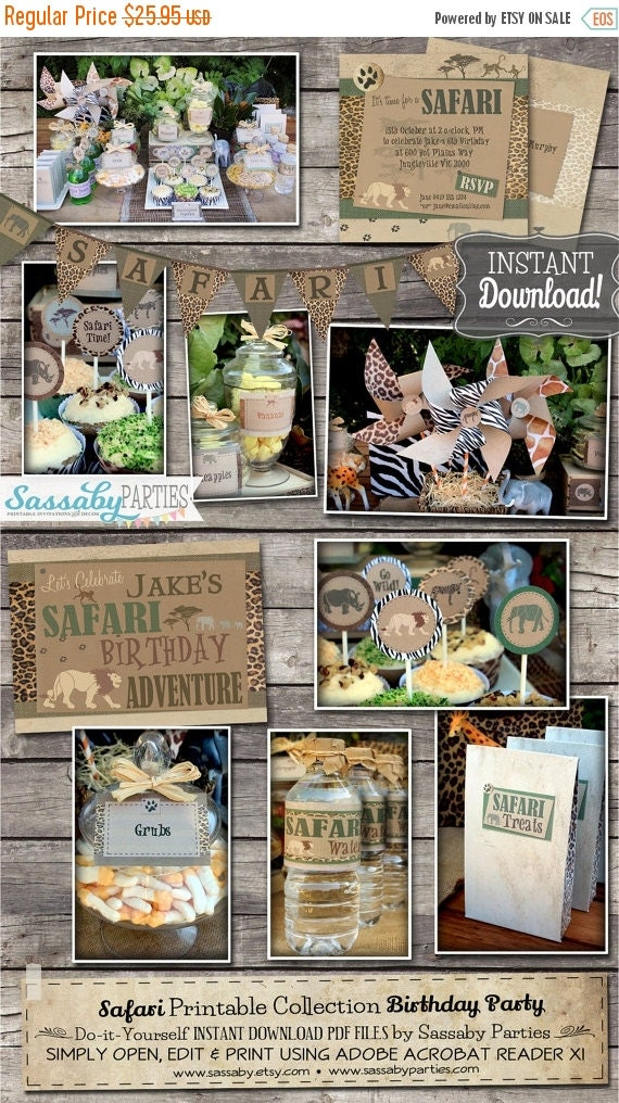 ON SALE Safari Party Collection - INSTANT Download - Editable & Printable African Jungle Safari Birthday Decorations by Sassaby Parties