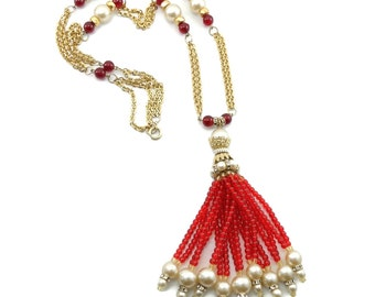 Long Vintage CHANEL Red Gripoix Glass Bead Faux Pearl Fringe Tassel Necklace  Rare Find!