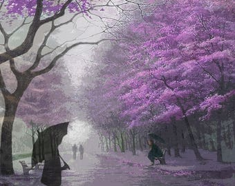 Rainy Day Rendezvous...Stormy Day, Meeting, People, Blossomed Trees, Decor