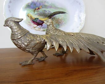 Exceptional brass peacock bird pheasant pair.  Hollywood Regency Mid Century classic brass peacock bird pheasant pair.