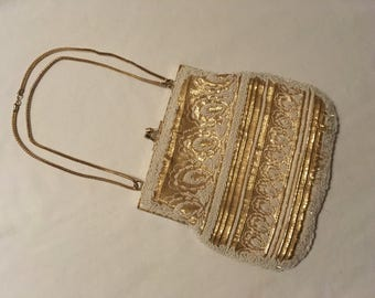VINTAGE Gold Chain Beaded Purse