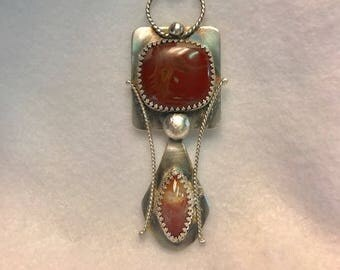 Handcrafted Sterling Silver Pendant with  Natural Agate and  Cacoxenite Super 7 Melody Stone
