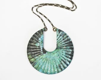 Fluted Japanese Fan Necklace / Green Patina Necklace / Spring Gift / Bold Necklace / Unique Jewelry / Patina Jewelry / Fresh / Fashion