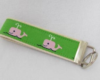 Keyfob wristlet / key chain  /pink green whales / key fob