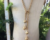 Vintage  Gold Monet Lariat Necklace