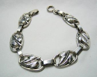 Vintage Leaf Design Danecraft Sterling Bracelet