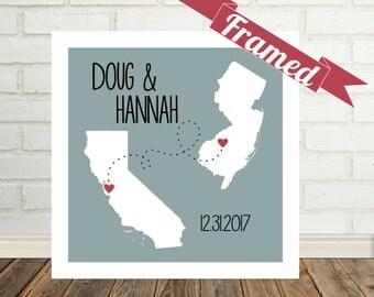 Map Art Long Distance Gifts Map Prints Long Distance Love Gifts for Long Distance Boyfriend Girlfriend Cute Ideas for Long Distance Couple