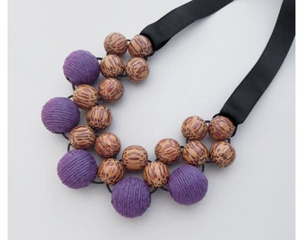 Unique Wooden Bead Necklace / Wooden Necklace  /  Bib Necklace / Statement Necklace / Chunky Wood Necklace /  Purple and Palmwood Necklace