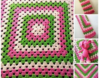 Granny Square Baby Blanket with Scalloped Edging - 36 inch Pink and Green Baby Blanket - Melon Patch