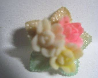 Vintage 1940's Ivory Celluloid Posy Flower Button w/ Pink,Green,Yellow Tint..#509