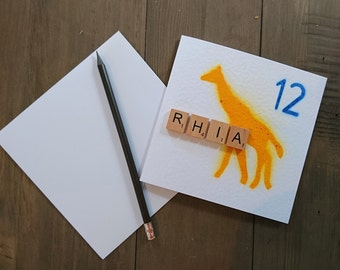 Giraffe card, giraffe birthday card, child birthday card, personalised birthday card, giraffe, personalised, greetings card