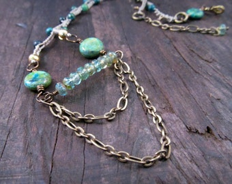 Boho Statement Necklace Aqua Necklace Tier Necklace Tribal Fall Fashion One of a Kind Bohemian Jewelry, Adjustable necklace