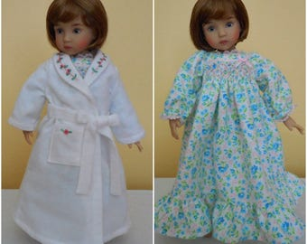 "Smocked Nightgown & Embroidered Robe for 13"" Dolls-Effner Little Darling-Juried Stitchery Artist-Free US Ship"
