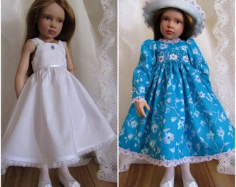 "Smocked Dress Ensemble Hats Petticoat 16"" 17"" Dolls-Kish Seasons Sasha Effner Natterer-Vintage Lawn-Juried Stitchery Artist-Free US Ship"
