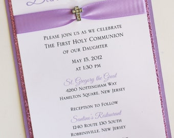 Girl Lavender Baptism-Communion Invitation with Mini Sparkling Cross; Rhinestone Buckle; Rhinestone Cross Brooch