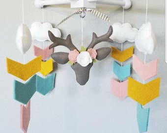 READY TO SHIP-Baby Crib Mobile-fawn Mobile-taxidermy deer nursery mobile-arrows and deer baby mobile-blush aqua and mustard baby mobile