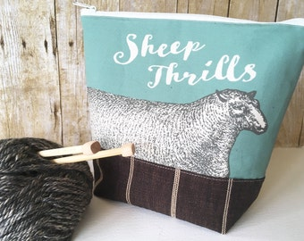 Sheep Thrills Knitting Project Bag, Sage