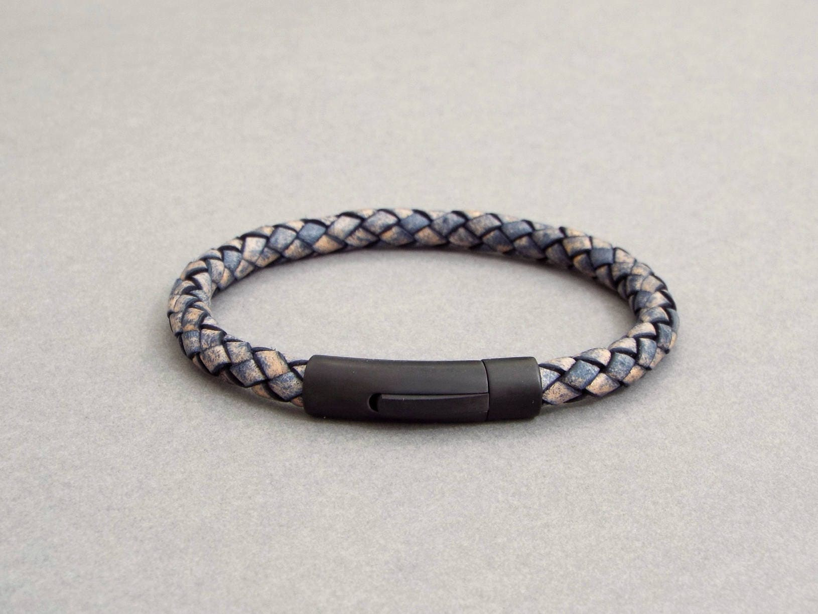 Mens Leather Bracelet Boyfriend Gift Blue Leather Mens Leather