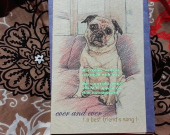ever and ever... pug cards/ love my pug  /storybook /personalize/sentimental /unique empathy condolence card/pet sympathy/pet cards