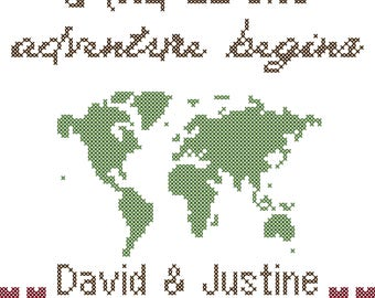 World Map Wedding Cross Stitch Pattern/Adventure Wedding Cross Stitch Pattern/The Adventure Begins/Wedding Cross Stitch/Modern Cross Stitch