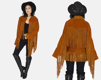 FRINGE Suede LEATHER Jacket Vtg 70's Cognac Rust Long Oversized Straight Easy Rider Country Western Rancher Boho Hippie Rocker - Large/XL