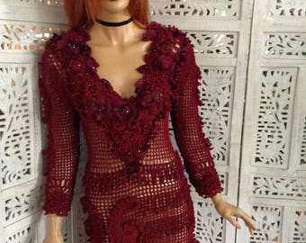 dress handmade crochet sexy embroidered with crystals silk fairy tale dress in cherry red fashion design party dinner dress by golden yarn