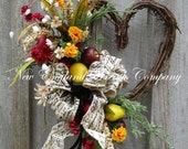 Heart Wreath, Country French Wreath, Country Cottage Wreath, Designer Wreath, Spring Floral Wreath, Fruit Wreath, Kitchen Wreath