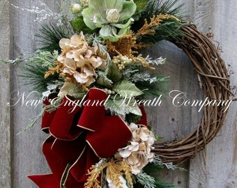 Christmas Wreath, Holiday Wreath, Elegant Christmas Wreath, Designer Wreath, Victorian Christmas, Woodland Wreath