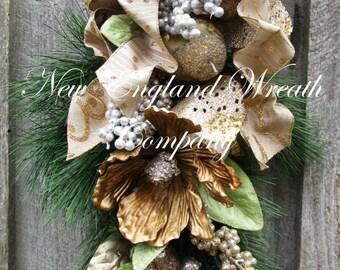 Christmas Swag, Christmas Wreath, Holiday Wreath, Jeweled Fruit Swag, Designer Holiday Swag, Holiday Centerpiece