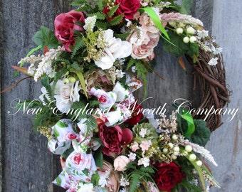 Valentine's Wreath, Spring Wreath, Floral Wreath, Victorian Wreath, Country French Wreath, Elegant Designer Wreath, Romantic Wedding Wreath