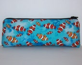 "Pipe Pouch, Clown Fish Bag, Pipe Case, Glass Pipe Bag, Padded Zipper Bag, Padded Pipe Pouch, Vape Pen Bag, Pipe Cozy, Fish Bag - 7.5"" LARGE"