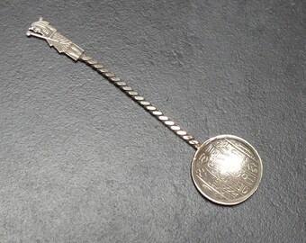 Vintage Unique Egyptian Revival Silver Metal Salt Spoon