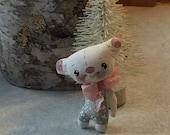 Little bear doll , Hand painted bear , Bear ornament , Collector bear , Little white bear