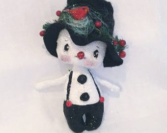 Sparkly snowman , Snowman cloth doll , Christmas decor , Christmas gift , Collector snowman ,   Christmas ornament  ,OOAK snowman ,