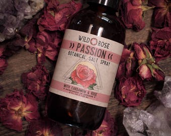 Botanical Perfume Spray - PASSION - Organic Hair Salt Spray with Rose + Cardamom - 4oz//120ml