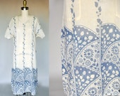 Vintage 1920s Ivory Blue Muslin Art Nouveau Floral Sack Dress with Short Sleeves Tie in Back One Size