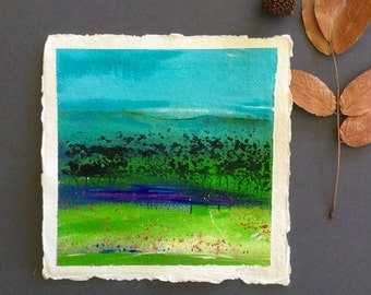 Abstract landscape, small painting, acrylic painting, handmade paper, original art