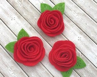 "2"" felt rosette with leaf, RED felt rose flowers, small felt flowers, DIY headband supplies, felt flower appliqué, wholesale fabric flowers"