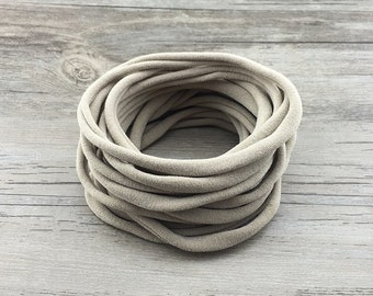 Nylon Headbands, Nude Nylon baby headbands, wholesale tan nylon headbands, Soft nylon Headbands, leaves no mark, DIY Headband supplies, bulk