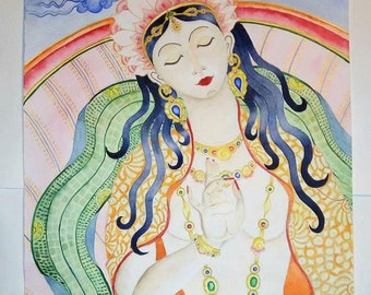 Original one of a kind watercolor artwork - The Goddess