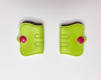 Cord Keeper, Iphone cord, Ear bud cord, Cord organizer, Bright Pink snaps, Lime green Vinyl cord keeper, Snap cord keeper, Cable organizers